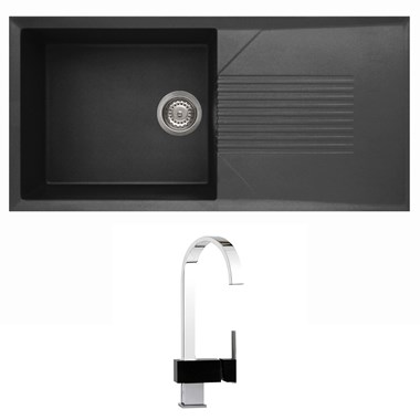 Reginox Tekno 1 Bowl Black Granite Composite Sink & Waste Kit and Mayfair Edge Mono Kitchen Mixer - Chrome/Black