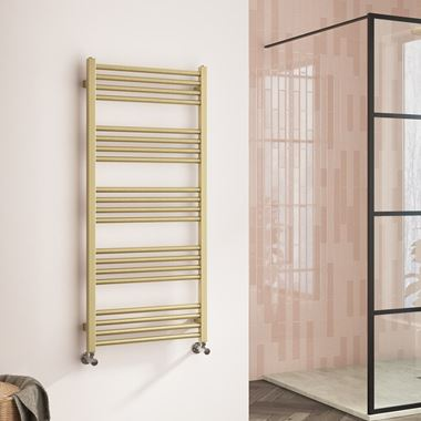 Harbour Status Flat Heated Towel Rail - Brushed Brass - 1140 x 500mm