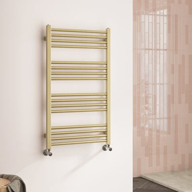 Harbour Status Flat Heated Towel Rail - Brushed Brass - 900 x 500mm