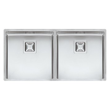 Reginox Texas 40 x 40 Double Bowl Stainless Steel Undermount Kitchen Sink & Waste