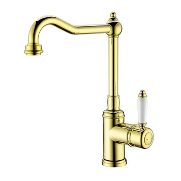 Clearwater Tiberius Single Lever Traditional Mono Kitchen Mixer - Gold