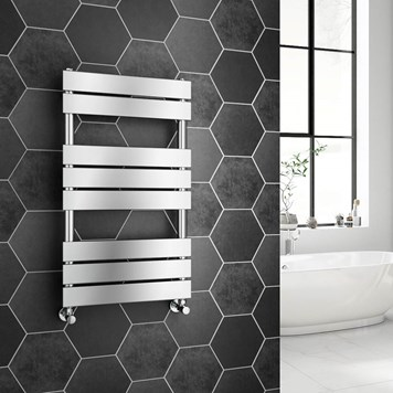 Brenton Avezzano Chrome Flat Panel Heated Towel Rail - 800 x 450mm