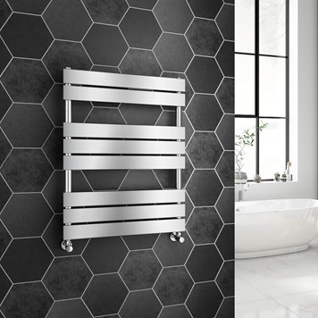 Brenton Avezzano Chrome Flat Panel Heated Towel Rail - 800 x 600mm