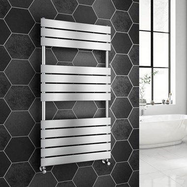 Brenton Avezzano Chrome Flat Panel Heated Towel Rail - 1200 x 600mm
