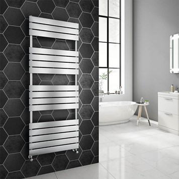 Brenton Avezzano Chrome Flat Panel Heated Towel Rail - 1600 x 600mm
