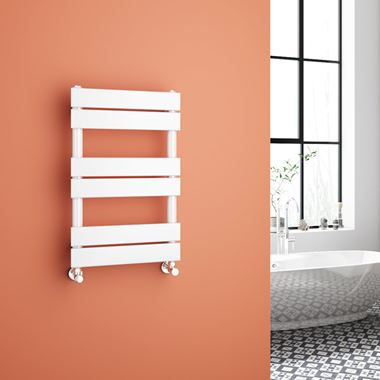 Brenton Avezzano White Flat Panel Heated Towel Rail