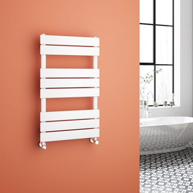 Brenton Avezzano White Flat Panel Heated Towel Rail - 800 x 450mm