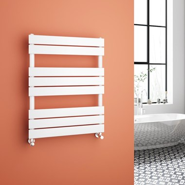 Brenton Avezzano White Flat Panel Heated Towel Rail - 800 x 600mm