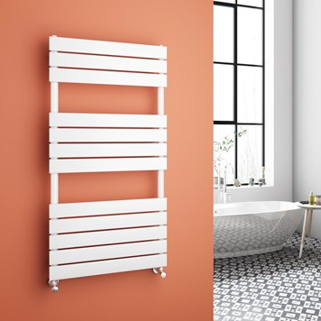 Brenton Avezzano White Flat Panel Heated Towel Rail - 1200 x 600mm