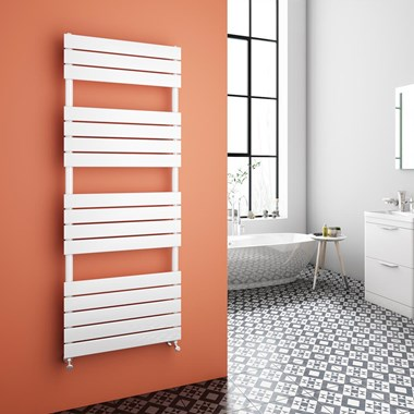 Brenton Avezzano White Flat Panel Heated Towel Rail - 1600 x 600mm