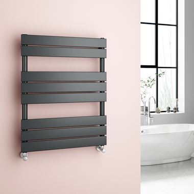 Brenton Avezzano Anthracite Flat Panel Heated Towel Rail - 800 x 600mm