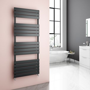 Brenton Avezzano Anthracite Flat Panel Heated Towel Rail - 1600 x 600mm