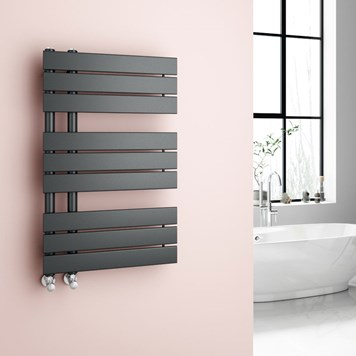 Brenton Fontana Flat Panel Offset Heated Towel Rail - 824 x 500mm