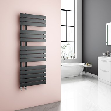 Brenton Fontana Flat Panel Offset Heated Towel Rail - 1380 x 500mm