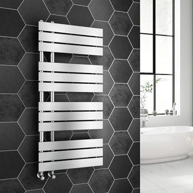 Brenton Fontana Flat Panel Offset Heated Towel Rail - 1126 x 500mm