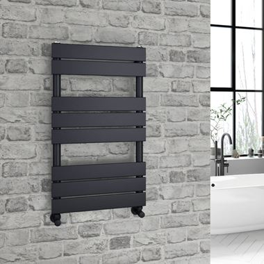 Brenton Avezzano Matt Black Flat Panel Heated Towel Rail - 800 x 450mm