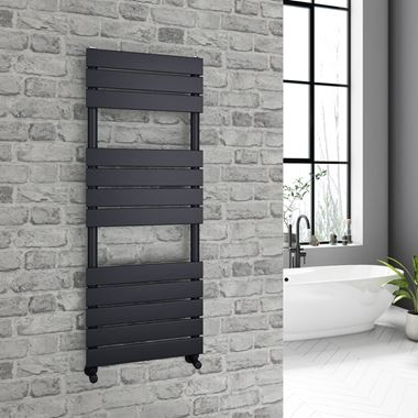 Brenton Avezzano Matt Black Flat Panel Heated Towel Rail - 1200 x 450mm