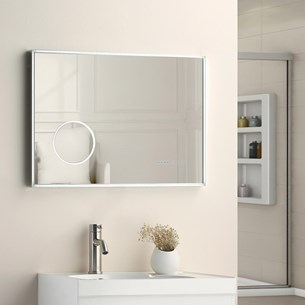 Drench LED Bathroom Mirror with Demister & Integrated Shaving Mirror - 500 x 600mm