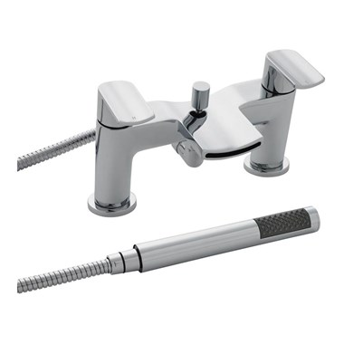 Vellamo React Waterfall Bath Shower Mixer With Shower Kit and Wall Bracket