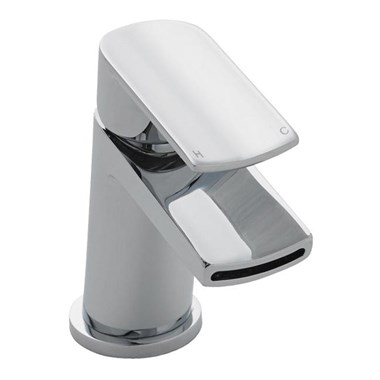 Vellamo React Waterfall Mono Basin Mixer With Push Button Waste