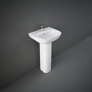 RAK Tonique 450mm 1 Tap Hole Basin with Full Pedestal