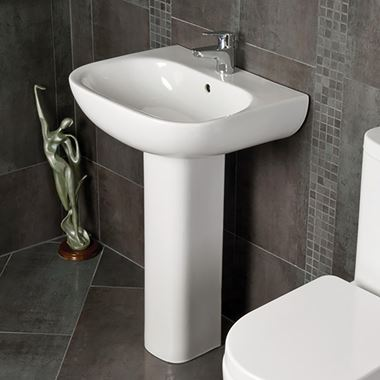RAK Tonique 550mm 1 Tap Hole Basin with Full Pedestal