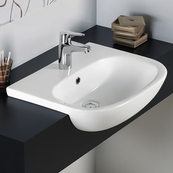 RAK Tonique 520mm Semi Recessed 1 Tap Hole Basin