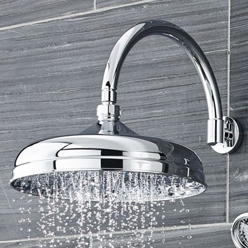 Butler & Rose Victoria 300mm Traditional Fixed Apron Shower Head & Shower Arm