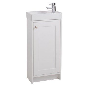 Compact Traditional Floorstanding Vanity Unit & Basin - Ivory