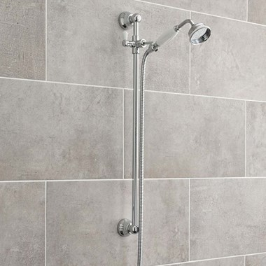 Ultra Traditional Shower Slider Rail Kit & Outlet Elbow - Chrome