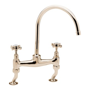 Tre Mercati Imperial Dual Flow Bridge Pillar Sink Mixer - Antique Gold