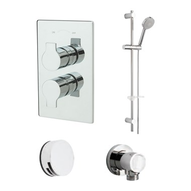 Tre Mercati Ora Concealed 2 Outlet Thermostatic Bath & Shower Valve Kit 2