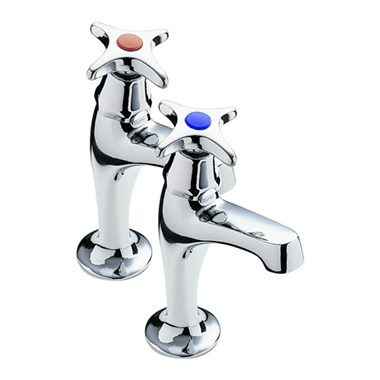 Tre Mercati Capri Crosshead Pair Of High Neck Pillar Taps - Chrome