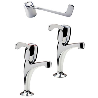 "Tre Mercati Capri Lever Pair Of High Neck Pillar Taps - 6"" Lever - Chrome"