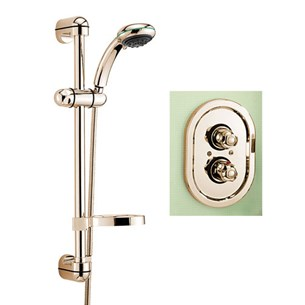 Tre Mercati Roma Concealed Thermostatic Shower Valve With Europa No2 Shower Kit - Antique Gold