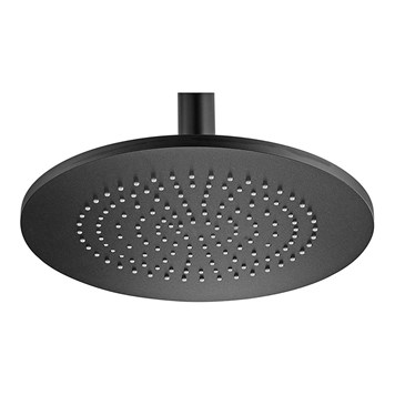 Tre Mercati Aluminium Round Fixed Shower Head with Adjustable Swivel - 240mm - Matt Black