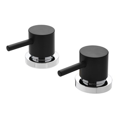 "Tre Mercati Milan Black Deck Mounted Side Valves 3/4"" (Pair)"