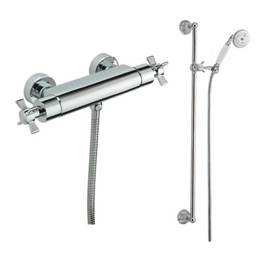 Tre Mercati Traditional Exposed Thermostatic Bar Shower Valve & Slide Rail Shower Kit