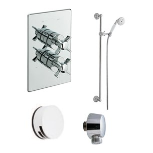 Tre Mercati Traditional Concealed 2 Outlet Thermostatic Bath & Shower Valve Kit 2