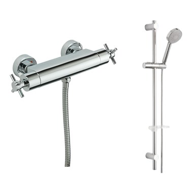Tre Mercati Erin Exposed Thermostatic Bar Shower Valve & Slide Rail Shower Kit