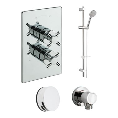 Tre Mercati Erin Concealed 2 Outlet Thermostatic Bath & Shower Valve Kit 2