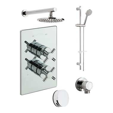Tre Mercati Erin Concealed 3 Outlet Thermostatic Bath & Shower Valve Kit 1