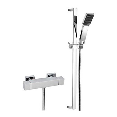 Tre Mercati Geysir Exposed Thermostatic Bar Shower Valve & Slide Rail Shower Kit