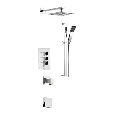 Tre Mercati Geysir Concealed 3 Outlet Thermostatic Bath & Shower Valve Kit 1