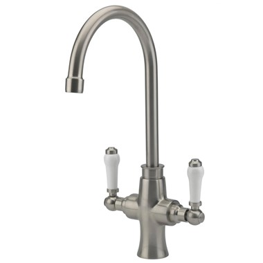 Tre Mercati Victoria Bianco Mono Kitchen Mixer - Brushed Nickel