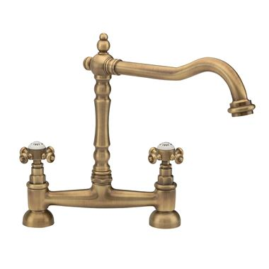 Tre Mercati French Classic Traditional Bridge Sink Mixer - Antique Brass