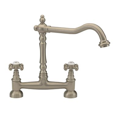 Tre Mercati French Classic Traditional Bridge Sink Mixer - Pewter