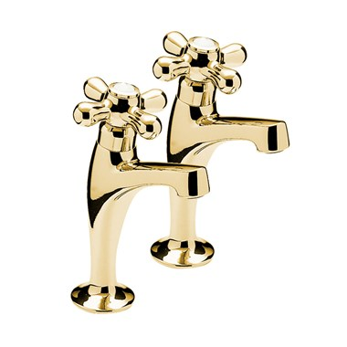 Tre Mercati Series 900 Crosshead Pair Of High Neck Pillar Taps - Antique Gold Plated