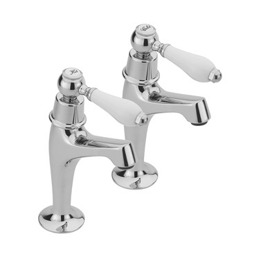 Tre Mercati Series 900 Lever Pair Of High Neck Pillar Taps - Chrome
