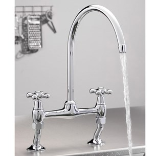 Tre Mercati Series 900 Crosshead Dual Flow Bridge Pillar Sink Mixer, Chrome Plated